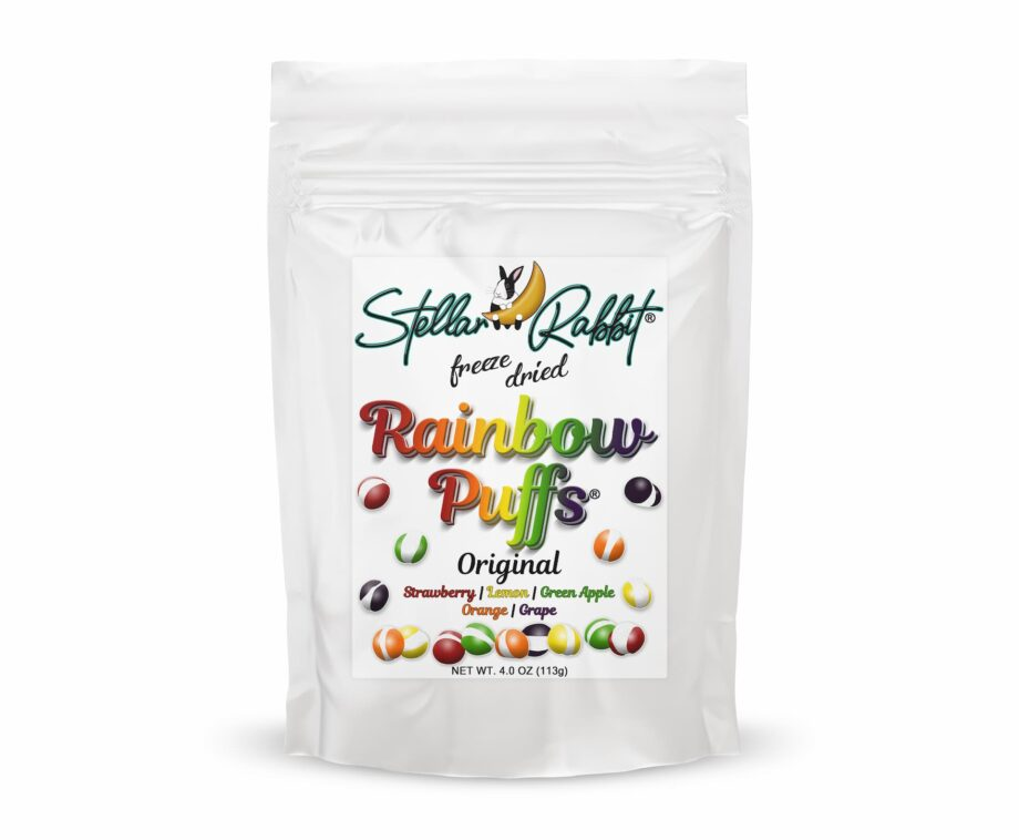 Freeze Dried Rainbow Puffs™ Made with Skittles® Packaging