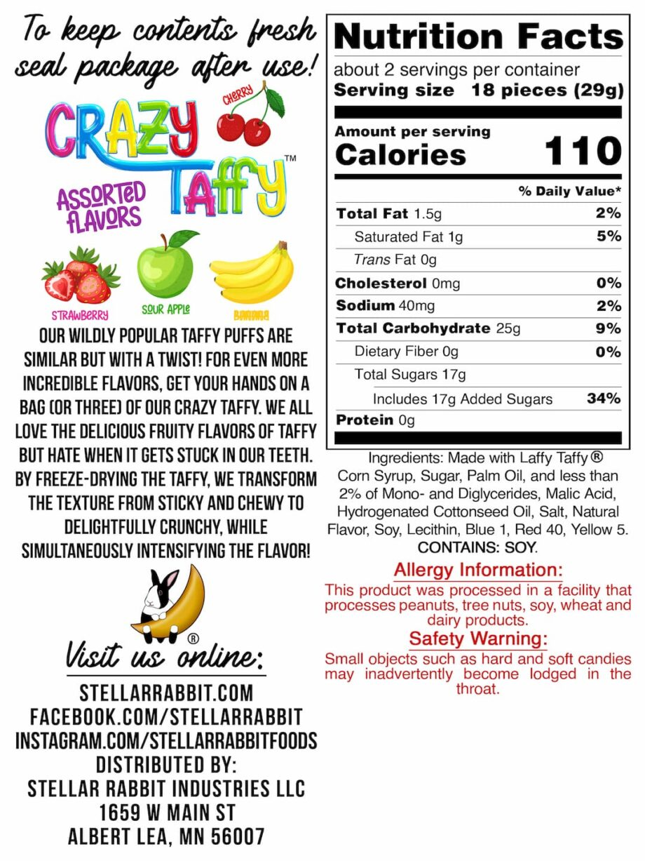 Crazy Taffy™ Nutritional Values Label