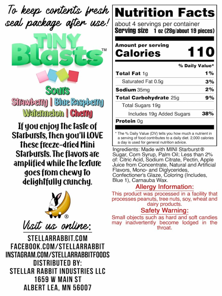 Tiny Blasts™ Sours Nutritional Values Label