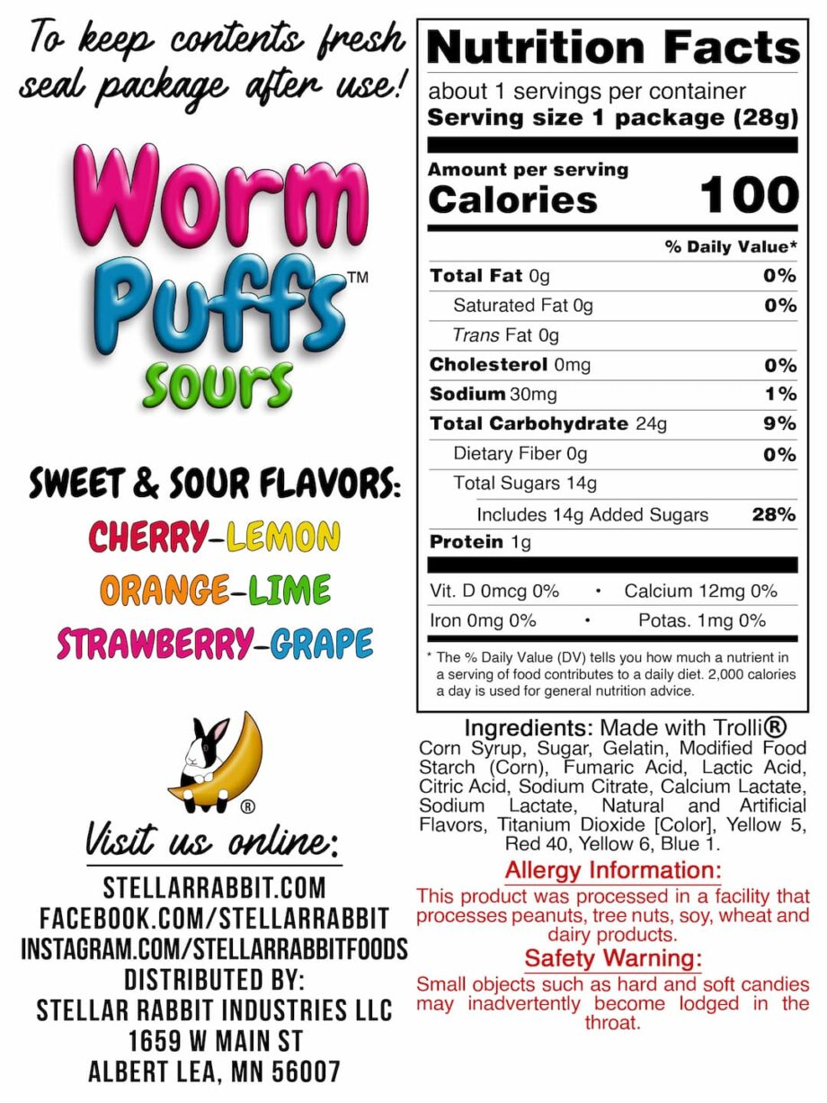 Worm Puffs™ Nutritional Value Label