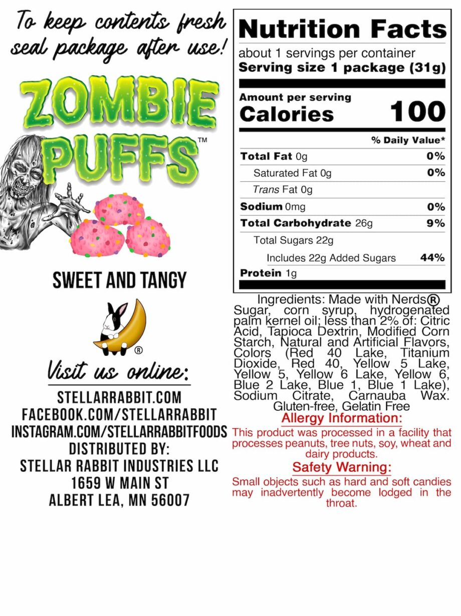 Zombie Puffs™ Nutritional Values Label